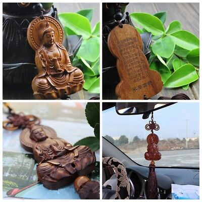 1PC Red Chinese Kwan Yin Buddha Statue Sculpture Car Pendant Jujube Wood Carving