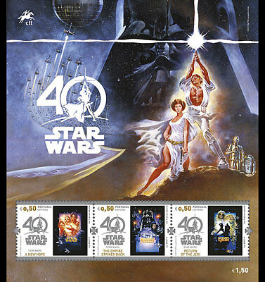 Z05 Portugal 2017 Star Wars 40 Years (tm) Souvenir Sheet of 3 Stamps