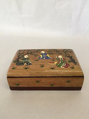 Indonesian Vintage Handcrafted Painted Wooden Box