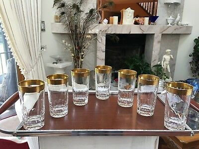 Retro 1950's Cut Glass With Gold Rim & Set of 7 Gold Rim Cut Highball Glasses