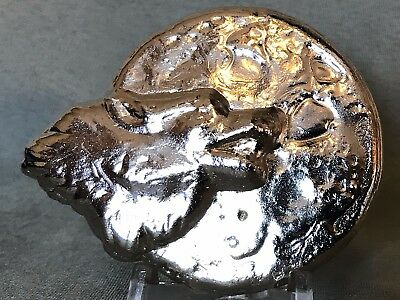 CAM Silver Bar - 5oz Howling Wolf - 999 Fine Silver - Hand Poured - 5 Troy Ounce