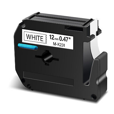 Black on White Label Tape Compatible for Brother M-K231 MK231 P-touch PT65 1/2''