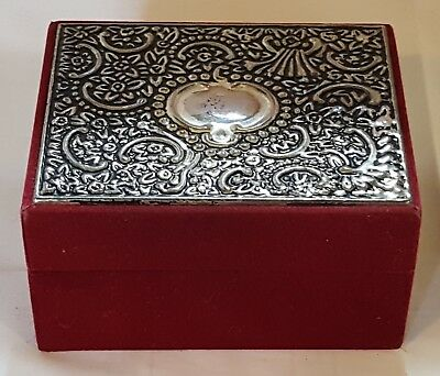 Silver plate and red velvet vintage Art Deco antique jewellery box