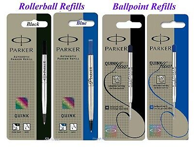 2 x Genuine Parker Medium Fine Ball Point or Rollerball Pen Refill Blue or Black
