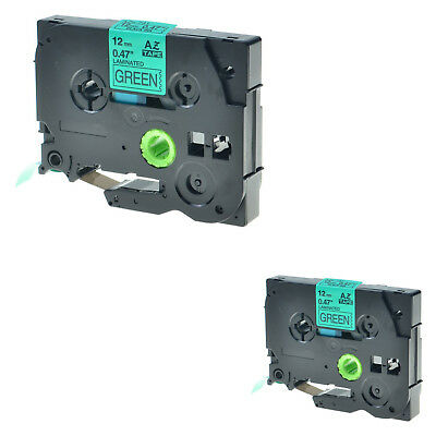 """2PK TZ731 TZe731 Black on Green 1/2"""" Label Tape for Brother P-Touch PT-1290 12mm"""