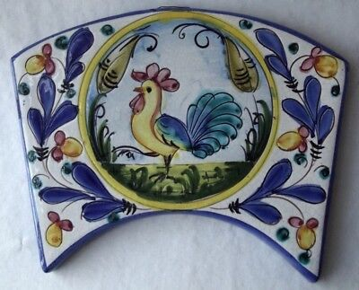 Vintage Italian Majolica Hand Made Hand Painted Rooster Tile Trivet Wall Plaque