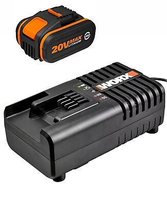 WORX WA3860 20 V Lithium Battery Fast Charger + WORX WA3553 20v 4ah BATTERY 2017