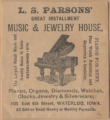 Victorian Trade Card Envelope-L S Parsons-Music & Jewelry House-Waterloo, IA