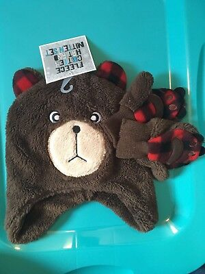 Soft Fuzzy Bear Hat & Claw Mittens Gloves Costume Winter Stocking Hat Beanie New