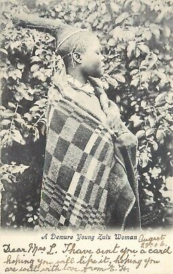 A Demure Young Zulu Women ~ An Old Postcard Posted In 1906 #74-14