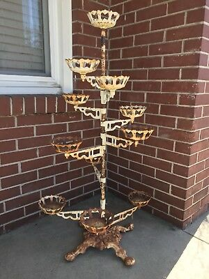 Antique Victorian 11 Swing Arm Plant Stand / Plant Holder
