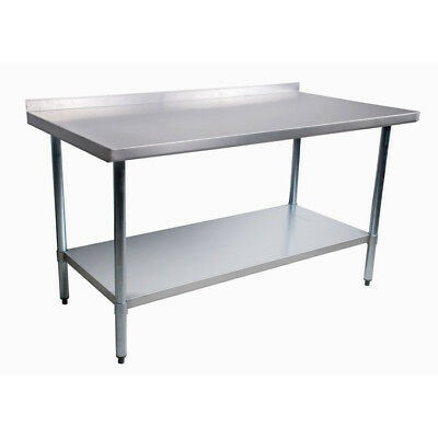 "stainless steel work table 24"" x 48"" with 2"" backsplash brand new in box"