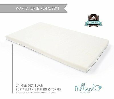 """baby crib mattress topper ventilated memory foam 2 in""""Removable Waterproof cover"""