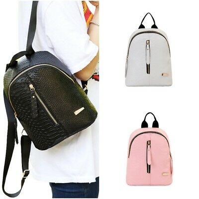 PU Leather Women Backpack Crocodile Pattern School Small Shoulder Preppy Bag dbca8cebcb657