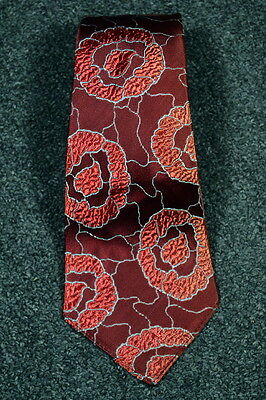 ART DECO 30s Vintage Burgundy Abstract Ring Pattern BROCADE NECKTIE Tie
