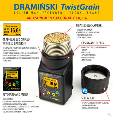 DRAMINSKI Twist Grain Moisture Meter Field Pocket Size LCD Screen