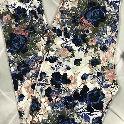 NWT Floral Buttery Soft Leggings Pants 2-10 Flowers OS One Size S M L
