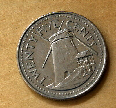 1998 Barbados 25 Cents Windmill