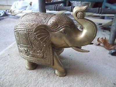 Large Heavy Brass Elephant Figure Statue Trunk Up Figurine - India - Carved
