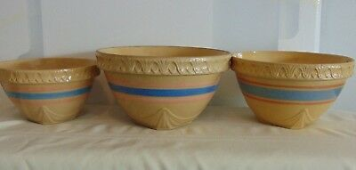 Vintage 1930's McCoy Mixing Bowls Square Bottom Set Of 3 Yellow Ware