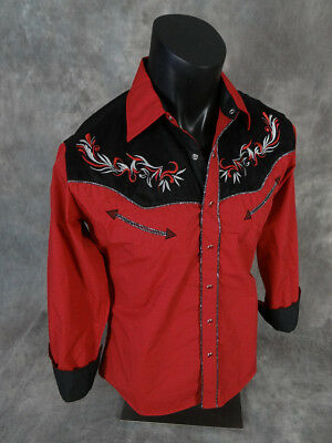 Mens WESTERN DIAMOND Shirt Red Suede Shoulders Shiny Pipe Trim Snap Front