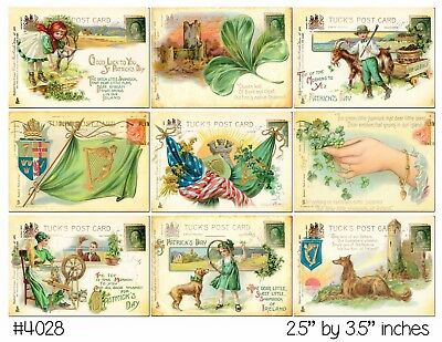 9 Vintage St Patrick's Day Postcard Hang Tags Scrapbooking Paper Crafts (161)