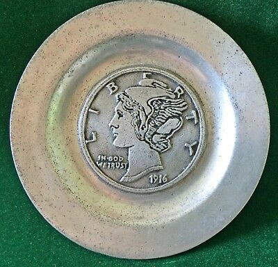 Pew-Ta-Rex 1916 Liberty Head Dime wine coaster or small plate of pocket change