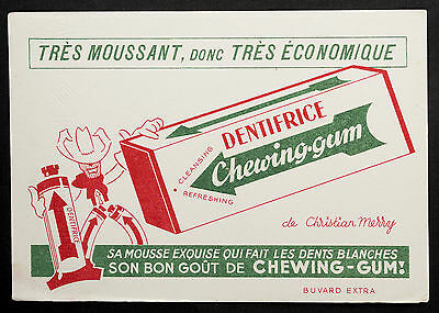 Buvard Publicitaire Ancien : Dentifrice Chewing Gum - Christian Merry