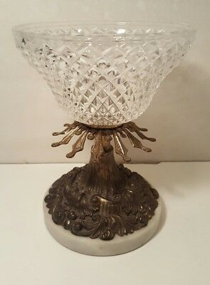 "Vintage Crystal Art Decco Bowl with Brass and Marble Base.. 8"" inch tall"