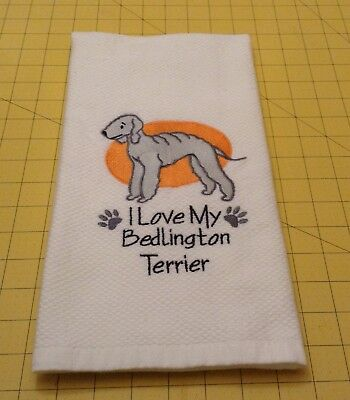 I Love My Bedlington Terrier Embroidered Kitchen Hand Towel 100% cotton xtra lg