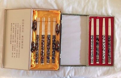 Two Sets of Eight Pairs Of Chines NEW Boxed Cloisonne chopstick
