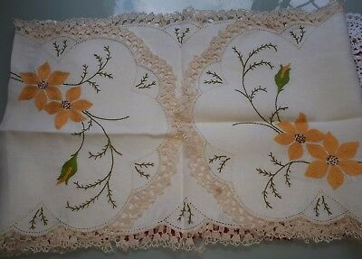 Vintage Hand Embroidered Table Runner - Beautiful!
