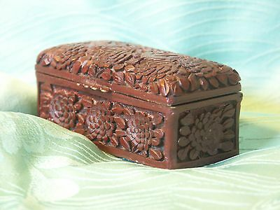 Vintage Chinese Hand Carved Cinnabar Lacquer Hinged Stamp Box Birds and Blossoms