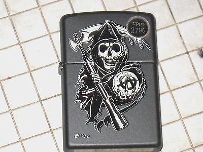 New ZIPPO USA Windproof LIGHTER SOA Sons of Anarchy Reaper Crew Black Matte Case
