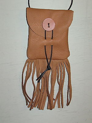 Mb-10 Beige Leather  Medicine Bag With A Leather Button Free Shipping In Usa
