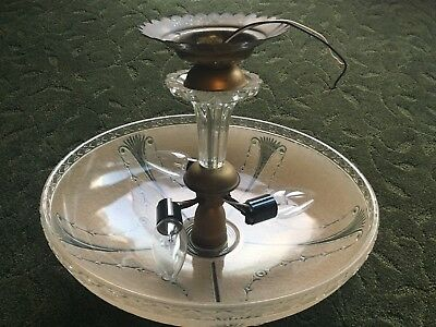 "Antique Art Deco Brass Ceiling Light Chandelier Beige/Clear 16"" Glass Shade"