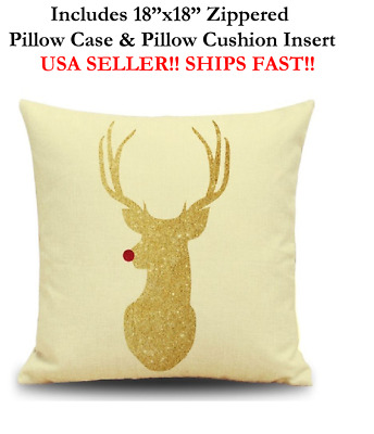 "18x18 18"" RED RUDOLPH REINDEER NOSE CHRISTMAS XMAS Zippered Pillow Case Cushion"
