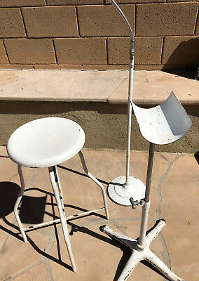 Vintage 3pc set steel medical surgical stool, gooseneck+limb stands, AS Aloe Co.