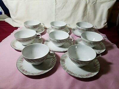 Vtg Set Of 8 Dansico Teahouse Rose Pattern Japan Fine China Cups and Saucers