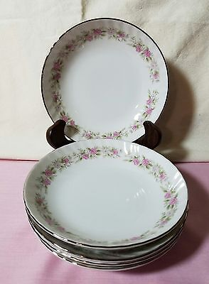 Set Of 5 Dansico Fine China Dessert Bowls In The Teahouse Rose Pattern, Japan