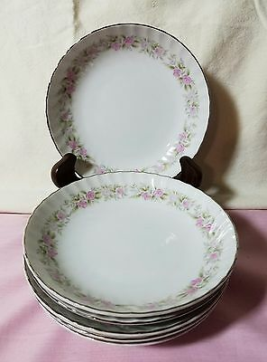 Vtg Set Of 6 Dansico Fine China Berry Bowls In The Teahouse Rose Pattern, Japan