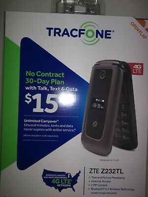 TRACFONE ZTE MODEL Z232TL 4G LTE Prepaid Flip phone (T-Mobile Towers