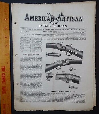 RARE American Artisan Journal 1867 GUN Hammond's Breech-loading Firearm Rifle