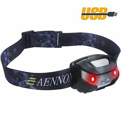 SUPERBRIGHT LED Headlight with USB Rechargeable Red Lights Adjustable Strip