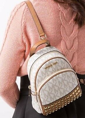 7ed82682aa35 NWT Michael Kors Abbey XS Studded Mini Backpack Crossbody MK Vanilla  Signature
