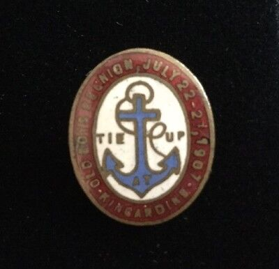 Antique 1907 Kincardine Old Boys Reunion Tie Up Pin July 22-27, 1907 Anchor Pin