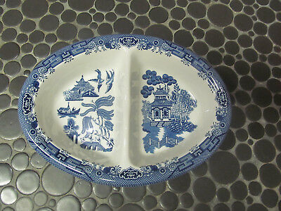 Stafford Blue Willow England Divided Vegetable Dish