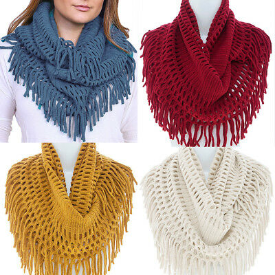 Women BOHEMIAN WARM NET KNIT FRINGE INFINITY HOODIE COWL SCARF WRAP LOOP Long