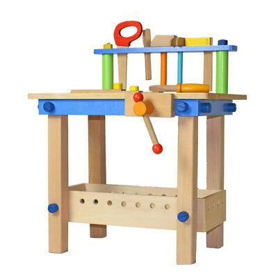 Wooden Work Bench Deluxe Kids Tools Table Carpenters Toy Play Set Toy Box