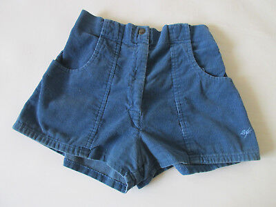 Vintage 80s Ligtning Bolt Women's Blue High Waisted Corduroy Shorts Made in USA